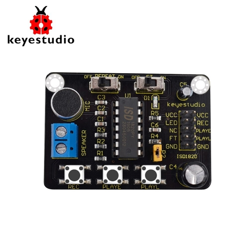 Keyestudio  ISD1820 Sound Voice Recording Playback Module With Mic Sound Audio Microphone for Arduino